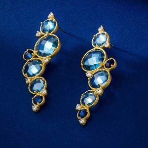 """Freida Rothman """"Imperial Blue"""" Earring,NWT"""